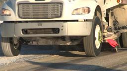 HD2008-12-9-7 sanding plow truck Stock Video Footage