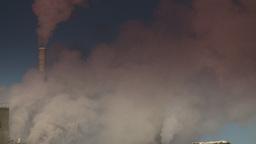 HD2008-12-9-9 Smoke stacks winter CK filter Stock Video Footage