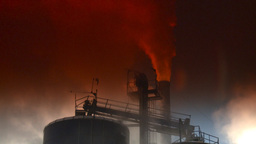 HD2008-12-9-19 Smoke stacks winter CK filter Stock Video Footage