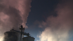 HD2008-12-9-27 Smoke stacks winter CK filter Stock Video Footage