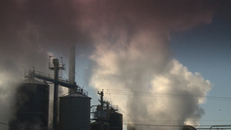 HD2008-12-9-29 Smoke stacks winter CK filter Stock Video Footage
