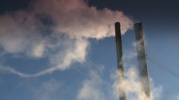 HD2008-12-9-39 Smoke stacks winter CK filter Stock Video Footage
