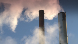 HD2008-12-9-41 Smoke stacks winter CK filter Stock Video Footage
