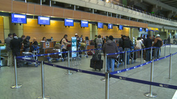 HD2008-12-10-8 Airport departures people line up Stock Video Footage