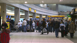 HD2008-12-10-14 Airport departures people line up Stock Video Footage