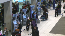 HD2008-12-10-16 Airport departures people line up Stock Video Footage
