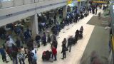 HD2008-12-10-18 TL (720p) Airport Departures People Line Up stock footage