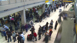 HD2008-12-10-18 TL (720p) Airport departures people line up Stock Video Footage