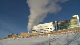 HD2008-12-11-1 steam exhaust bdg winter Stock Video Footage
