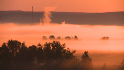 HD2008-7-1-11 sunrise fog birds gas plant Stock Video Footage