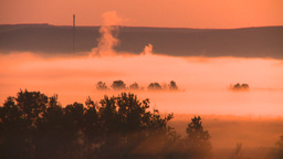 HD2008-7-1-11 sunrise fog birds gas plant Stock Video Footage