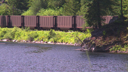 HD2008-7-1-17 coal train lake Stock Video Footage