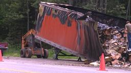 HD2008-7-1-27 semi trailer fire Stock Video Footage