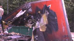 HD2008-7-1-29 semi trailer fire Stock Video Footage