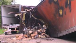 HD2008-7-1-33 semi trailer fire Stock Video Footage