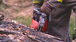 HD2008-7-1-35 semi trailer fire cutting saw Stock Video Footage