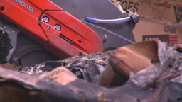 HD2008-7-1-37 semi trailer fire cutting saw Footage