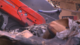 HD2008-7-1-37 semi trailer fire cutting saw Stock Video Footage