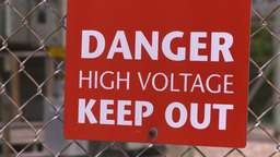 HD2008-7-1-47 high voltage signZ Stock Video Footage