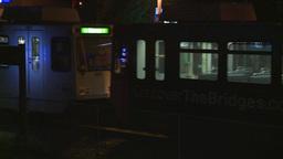 HD2008-7-2-39 LRT arrives stn night Stock Video Footage
