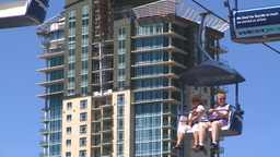 midway rides chairlift and condo Stock Video Footage