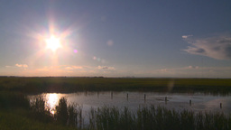 HD2008-6-7-53 sun pond evening Stock Video Footage