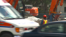 HD2008-7-7-7 traffic and road construction Stock Video Footage