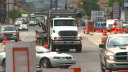 HD2008-7-7-11 traffic and road construction Stock Video Footage