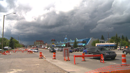 HD2008-7-7-17 traffic and storm clouds Stock Video Footage