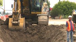 HD2008-7-7-19 backhoe trenching Stock Video Footage