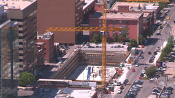 HD2008-7-8-6 aerial DT Cgy const crane Stock Video Footage