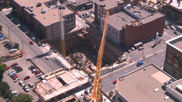 HD2008-7-8-12 aerial DT Cgy const cranes Stock Video Footage