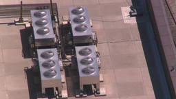 HD2008-7-8-16 aerial Cgy rooftop coolingfans Stock Video Footage