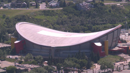 HD2008-7-8-18 aerial Cgy saddledome Stock Video Footage