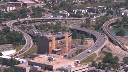 HD2008-7-8-22 aerial DT Cgy road bridges Stock Video Footage