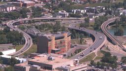 HD2008-7-8-23 aerial TL DT Cgy road bridges Stock Video Footage