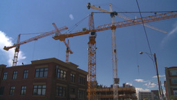 HD2008-7-8-31 TL constr site cranes Stock Video Footage