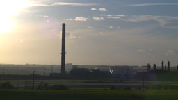 HD2008-7-14-60 gas plant stack late sunset Stock Video Footage