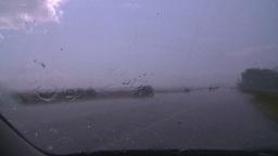 HD2008-7-15-5 hailstorm thru car window Stock Video Footage