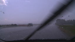 HD2008-7-15-5 hailstorm thru car window Footage
