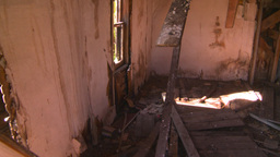 HD2008-7-16-47 interior abandoned farm house Footage