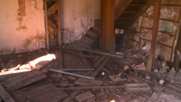 HD2008-7-16-47 interior abandoned farm house Stock Video Footage
