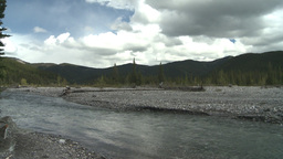 HD2008-6-3-53 elbow river and mountian Stock Video Footage
