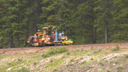 HD2008-6-6-13 rail maintenance tractor Stock Video Footage