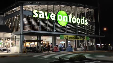 Save on foods at night scene Footage