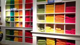 Stack of color towels on display Stock Video Footage