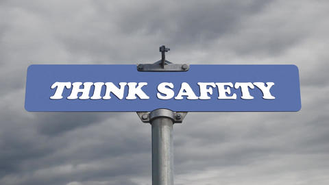 Think safety road sign with time lapse cloud backg Stock Video Footage