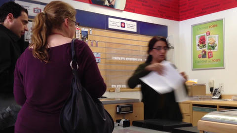 Couple Mailing Letter At Post Office stock footage