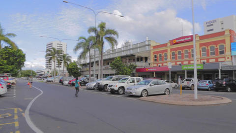 pan in the town of cairns - oceania walk Stock Video Footage