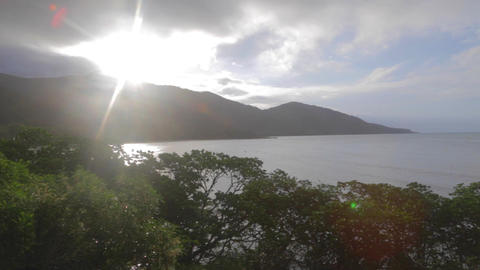 a pan of sunset at a viewpoint in cape tribulation Footage